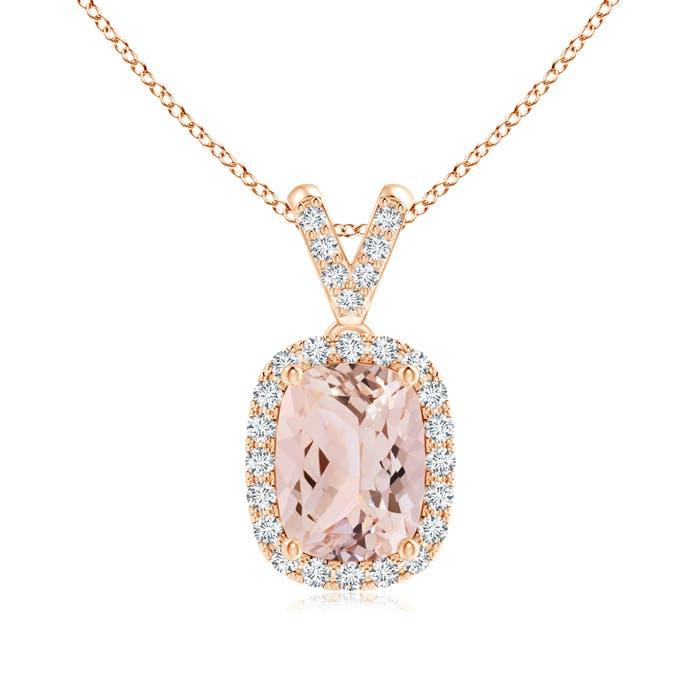 Angara Morganite Necklace - Sideways Cushion Morganite and Diamond Halo Pendant ec7YsDa