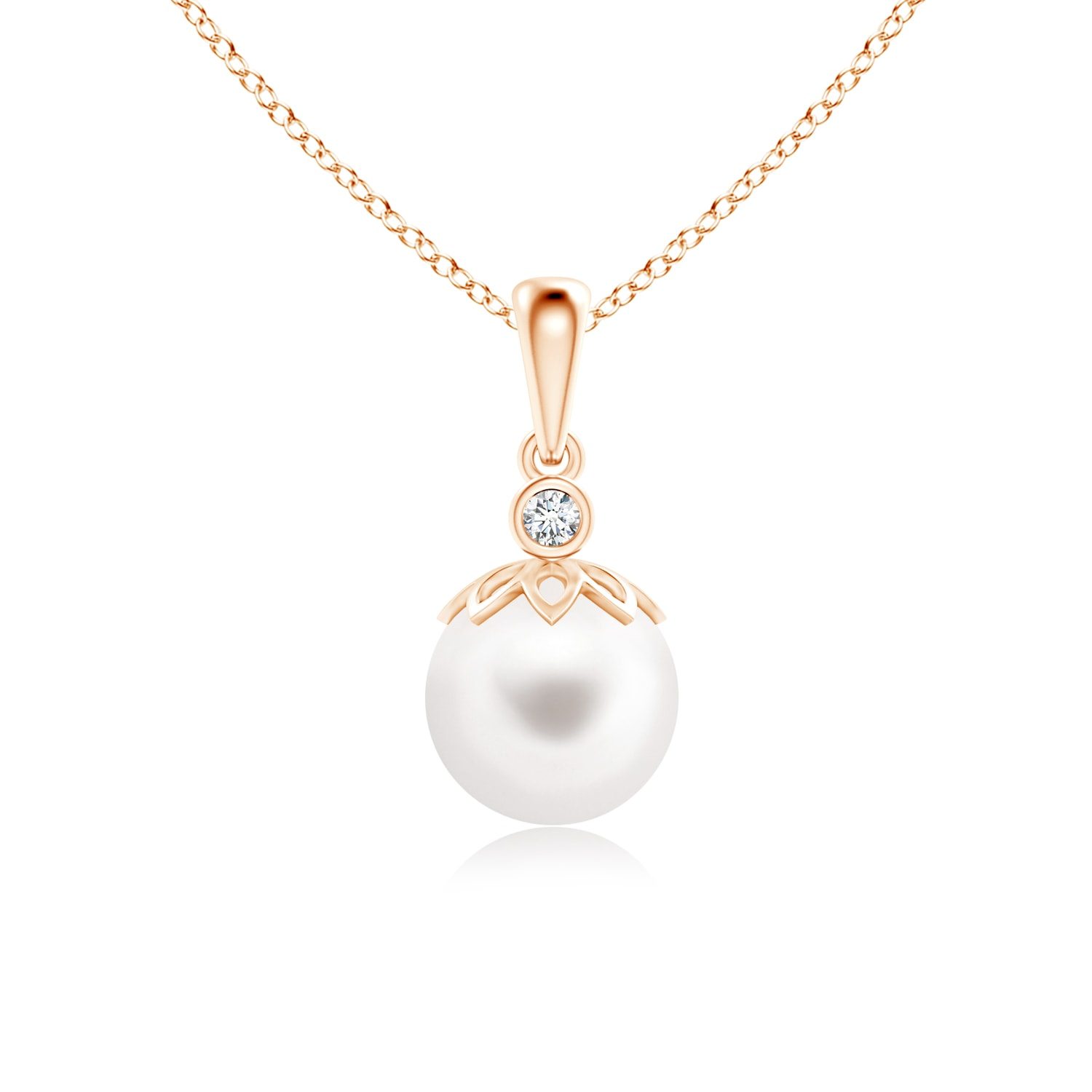 Angara Freshwater Cultured Pearl and Diamond Bypass Pendant GtErI3