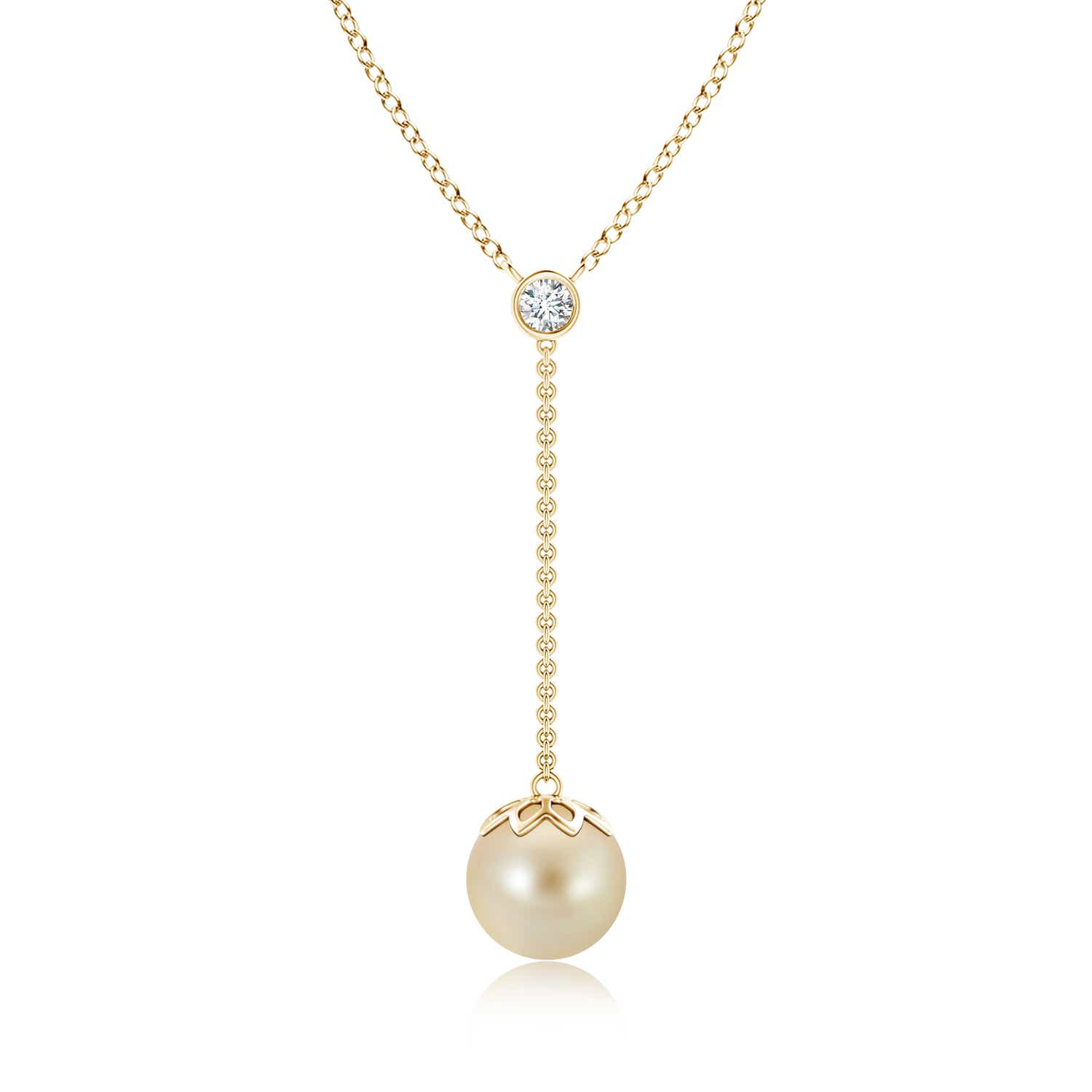 Angara Golden South Sea Cultured Pearl Lariat Necklace with Diamond 0n17wPQie