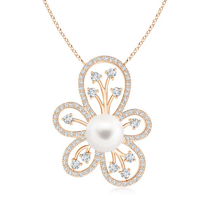 Solitaire Freshwater Cultured Pearl Floral Pendant with Diamond Accents - Angara.com