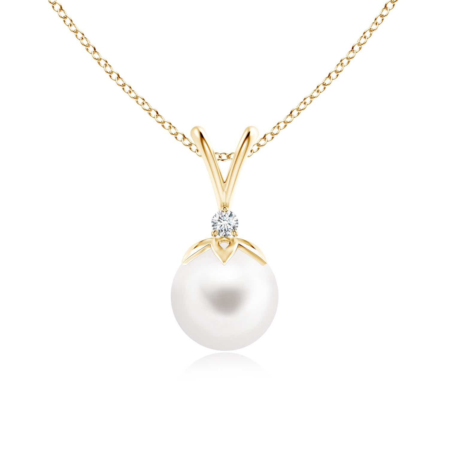 Angara Freshwater Cultured Pearl Drop Pendant with Diamonds MxHXJ