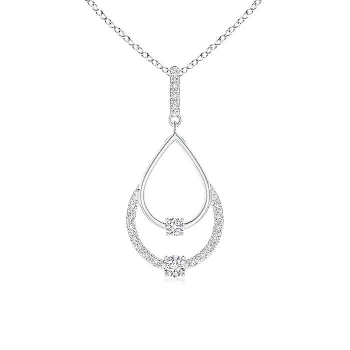 Angara Two Stone Diamond Swirl Pendant
