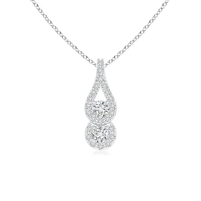 Angara Classic Two Stone Diamond Swirl Pendant rac8Vi4H