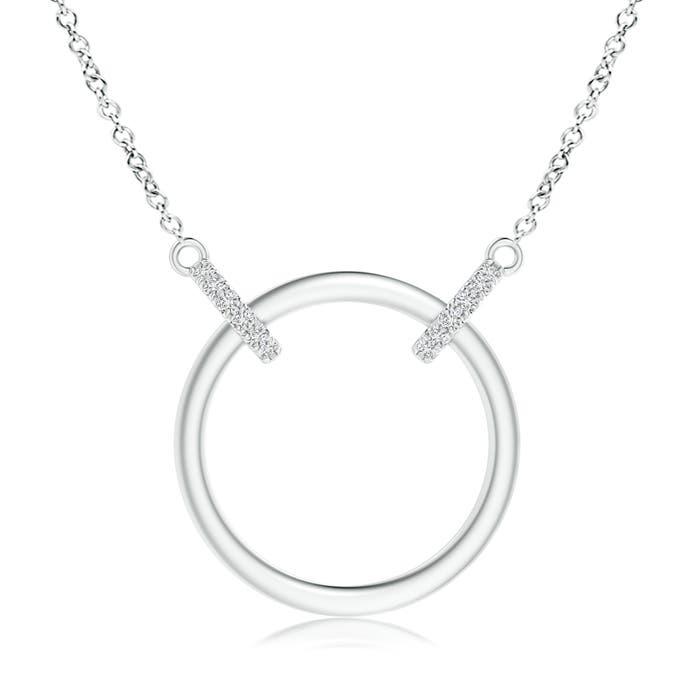 Angara Eternity Round Diamond Circle Infinity Necklace in Two Tone O9Xujb