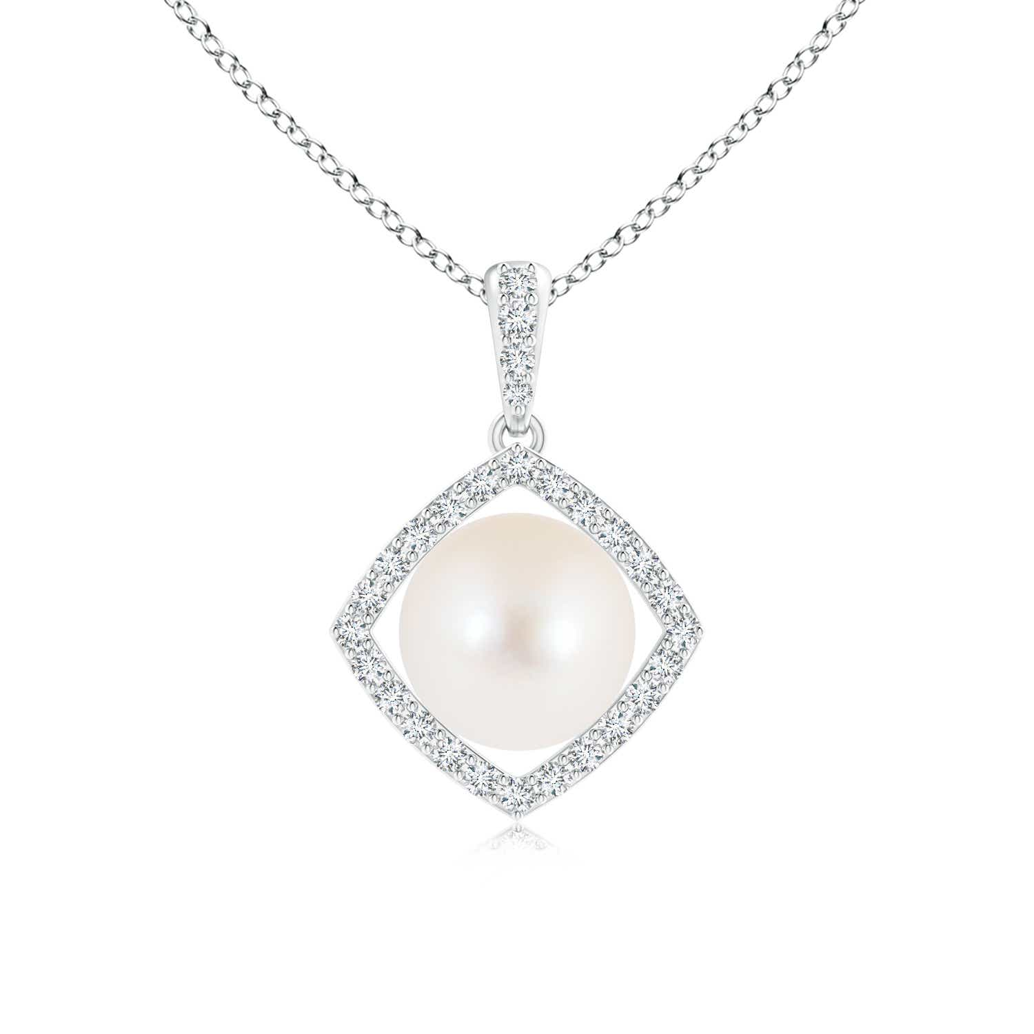 Angara Freshwater Cultured Pearl and Diamond Halo Pendant