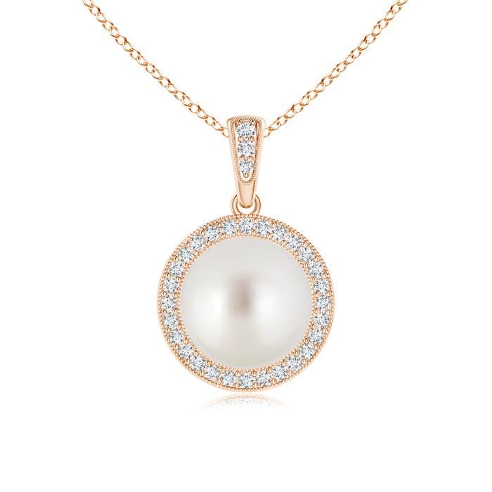 Dangling South Sea Cultured Pearl and Diamond Halo Pendant - Angara.com