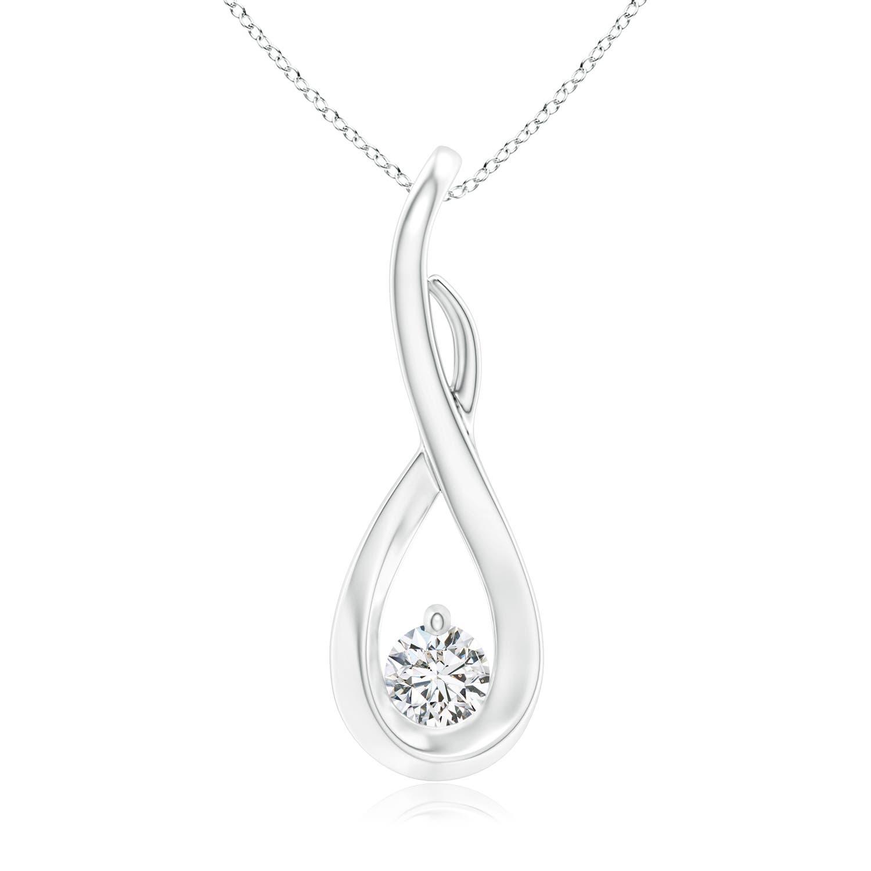 Infinity Twist Round Diamond Solitaire Pendant - Angara.com
