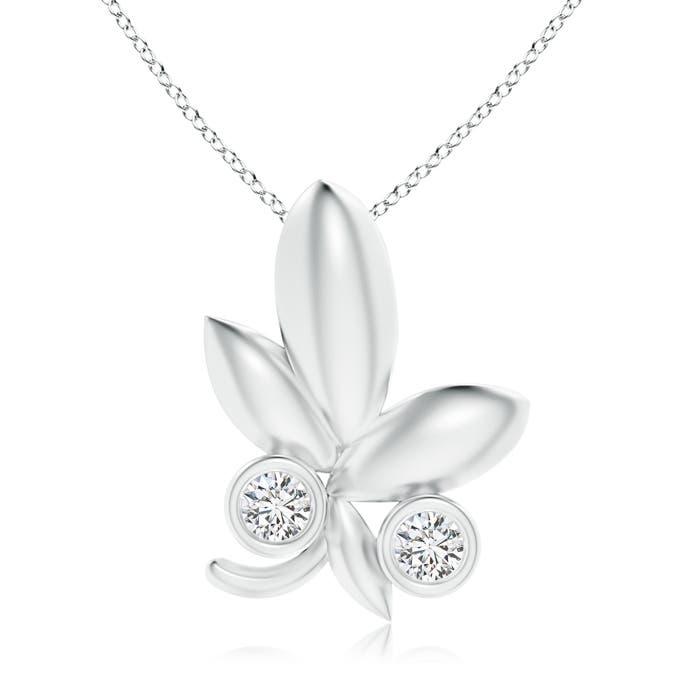 Lotus Bud Inspired Bezel-Set Diamond Pendant - Angara.com