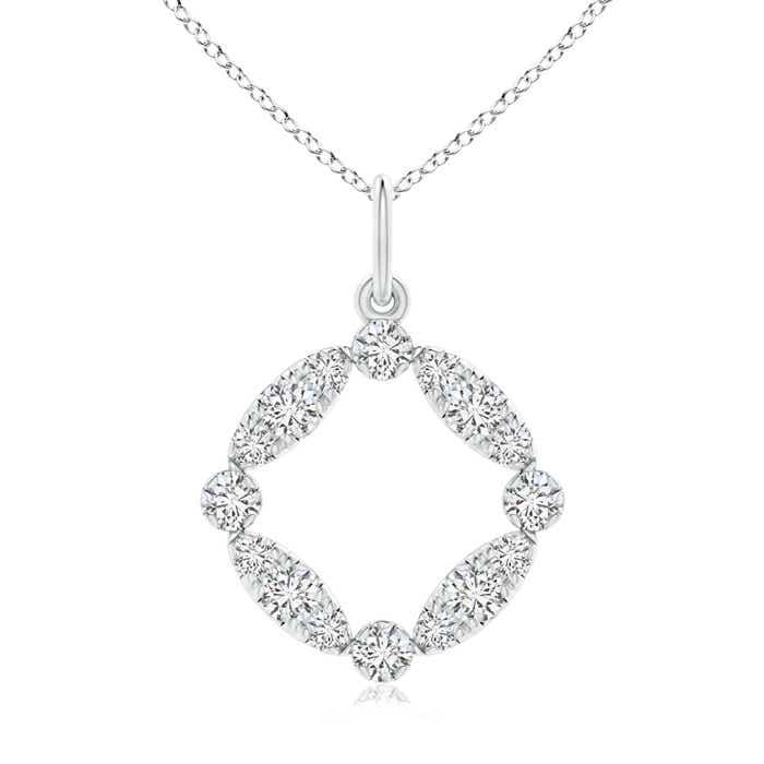 Marquise and Dot Diamond Open Circle Pendant - Angara.com