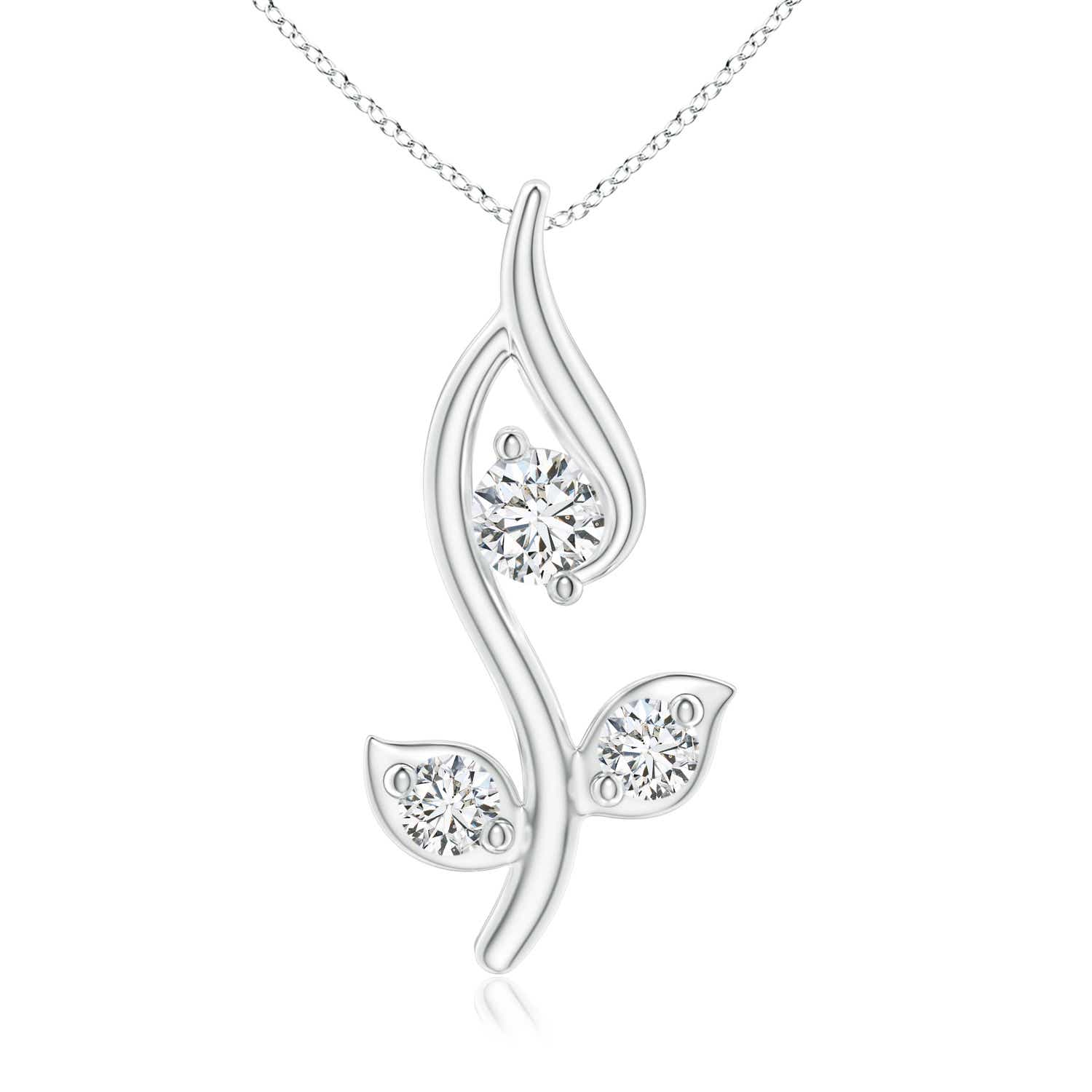 Classic Round Diamond Leaf and Vine Pendant - Angara.com