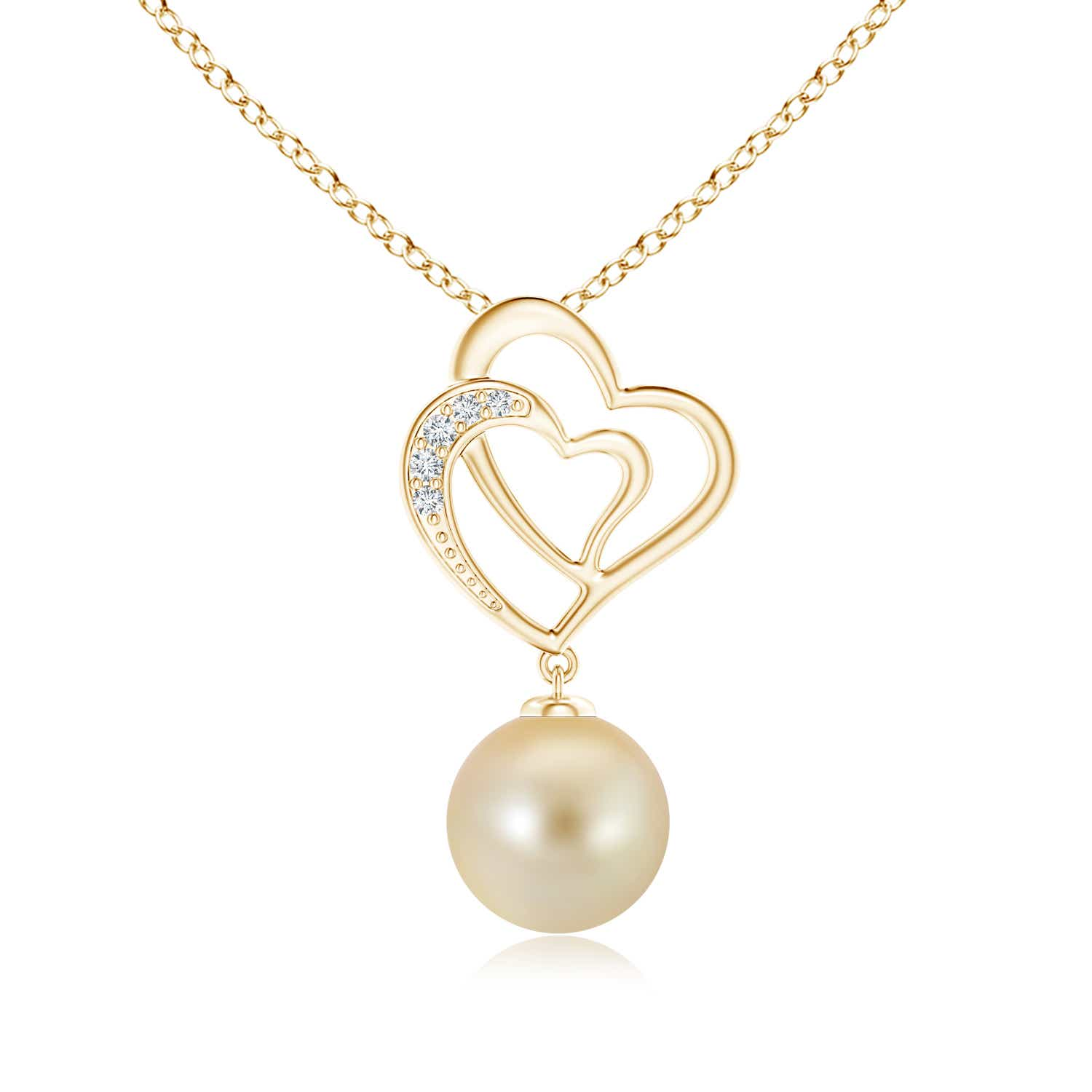 Angara Golden South Sea Cultured Pearl Entwined Heart Pendant ENOom
