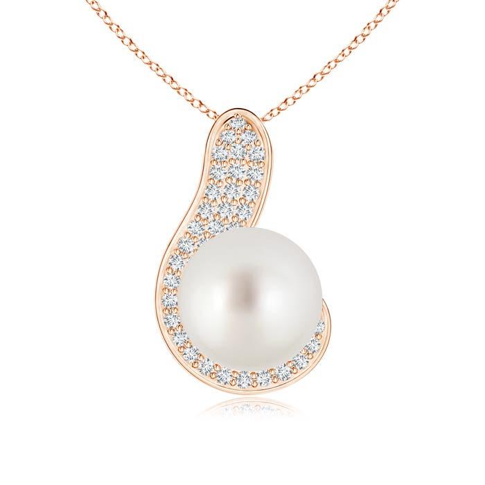Angara South Sea Cultured Pearl and Diamond Twist Bale Pendant joA0sH