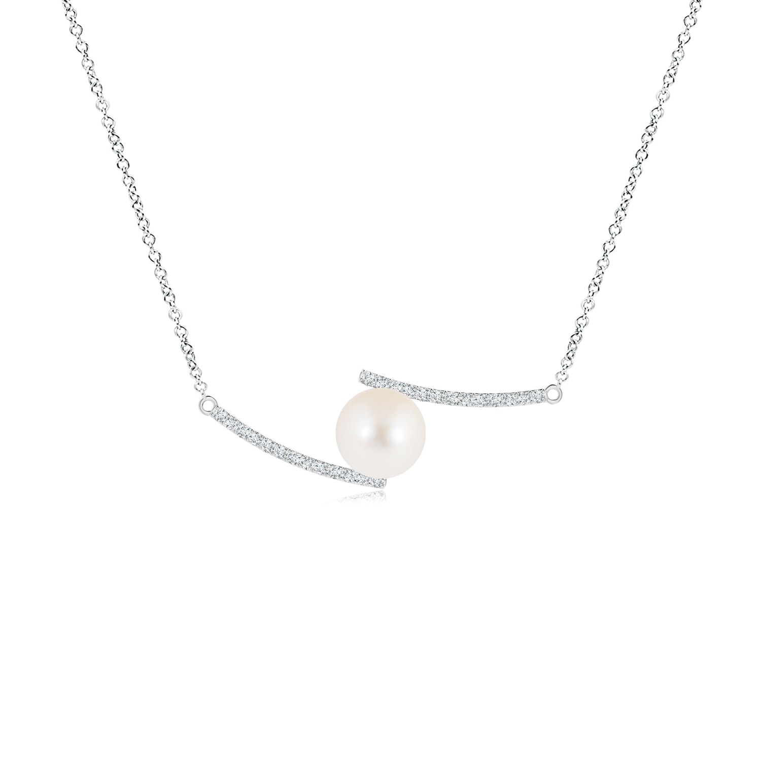 Angara Freshwater Cultured Pearl and Diamond Bypass Pendant