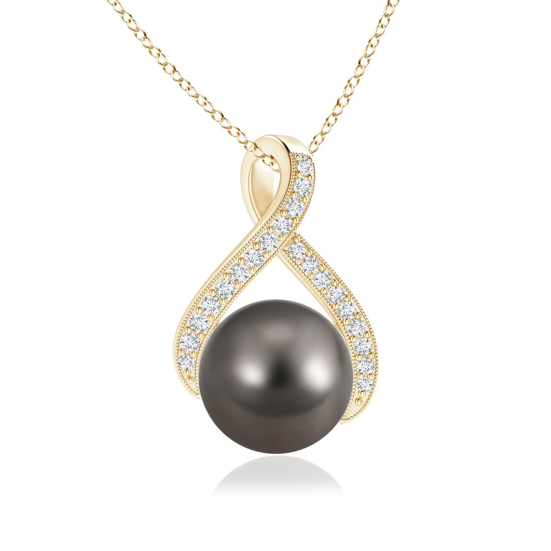 Angara Tahitian Cultured Pearl Swirl Ribbon Pendant with Diamonds OjDgSLY