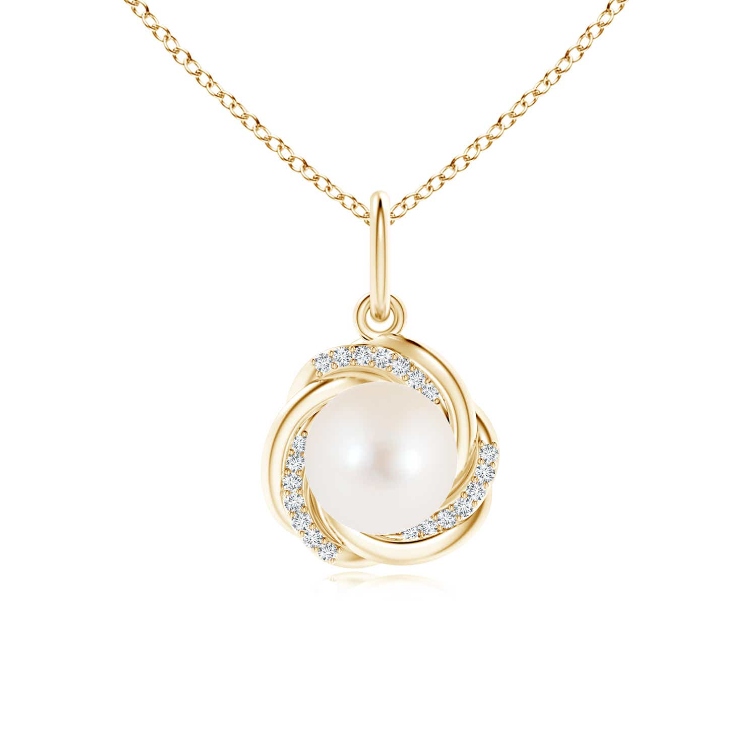 Angara Freshwater Cultured Pearl Overlapping Halo Pendant; Pearl Pendant & Pearl Necklace yj37g6ZQme