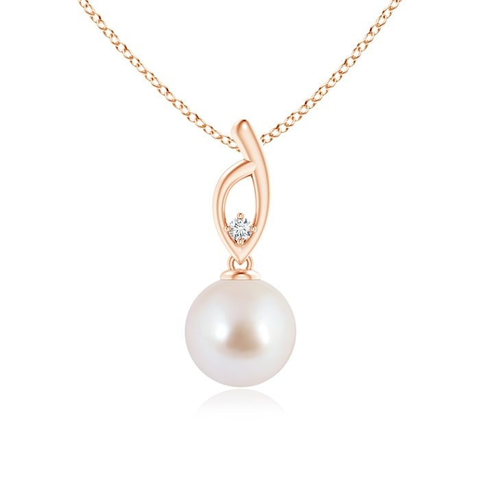 Akoya Cultured Pearl Solitaire Pendant with Tiny Diamond - Angara.com