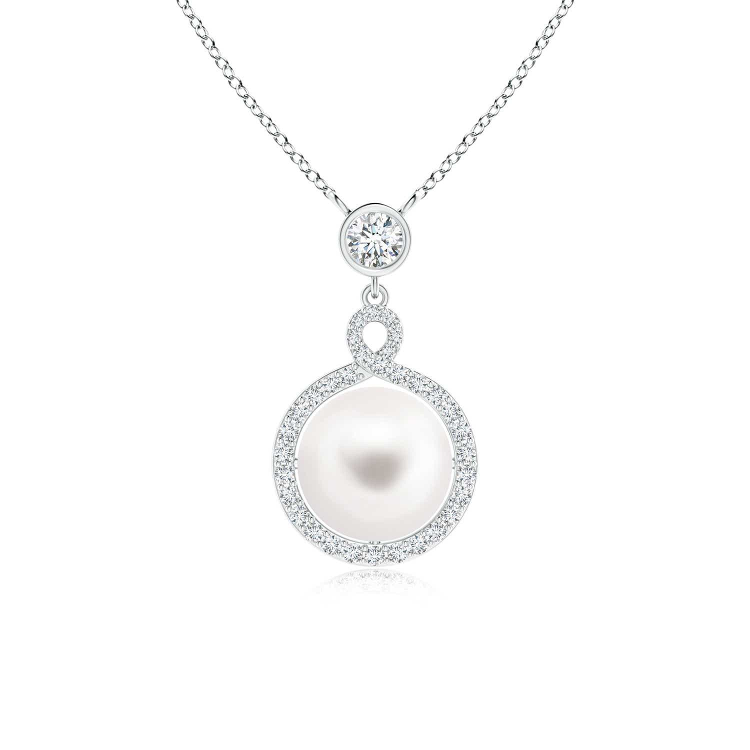 FreshWater Cultured Pearl Drop Pendant with Twisted Diamond Halo - Angara.com