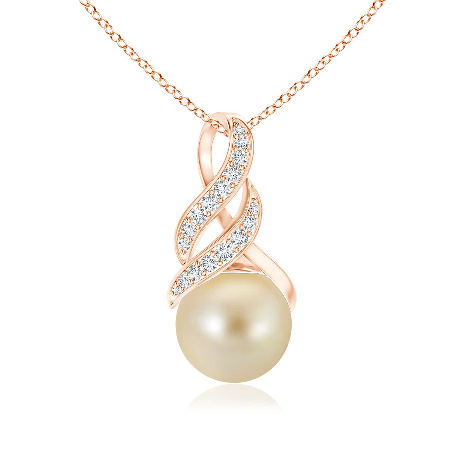 Angara Golden South Sea Cultured Pearl Entwined Heart Pendant; Pearl Pendant & Pearl Necklace qUkdm7