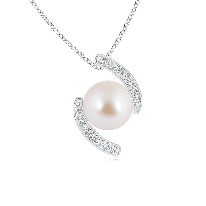 Akoya Cultured Pearl Bypass Pendant with Diamonds - Angara.com