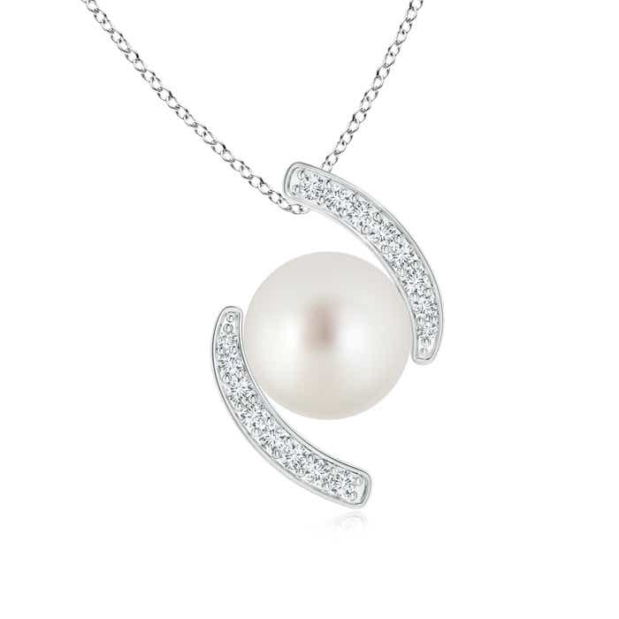 South Sea Cultured Pearl Bypass Pendant with Diamonds - Angara.com