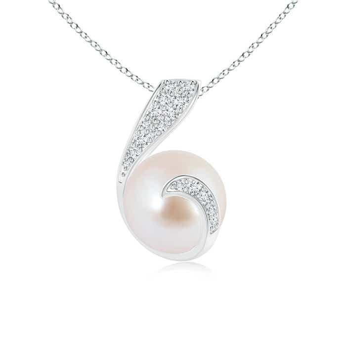 Twist Akoya Cultured Pearl Pendant with Diamond Accents - Angara.com