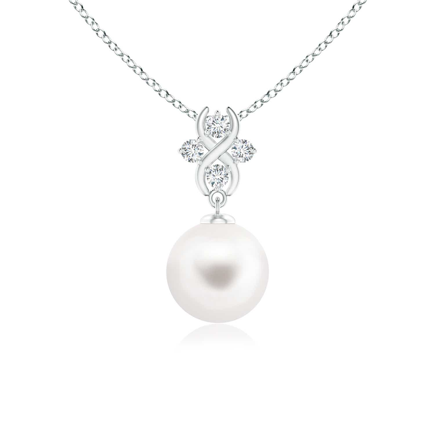 FreshWater Cultured Pearl Solitaire Pendant with Diamond Infinity Bale - Angara.com