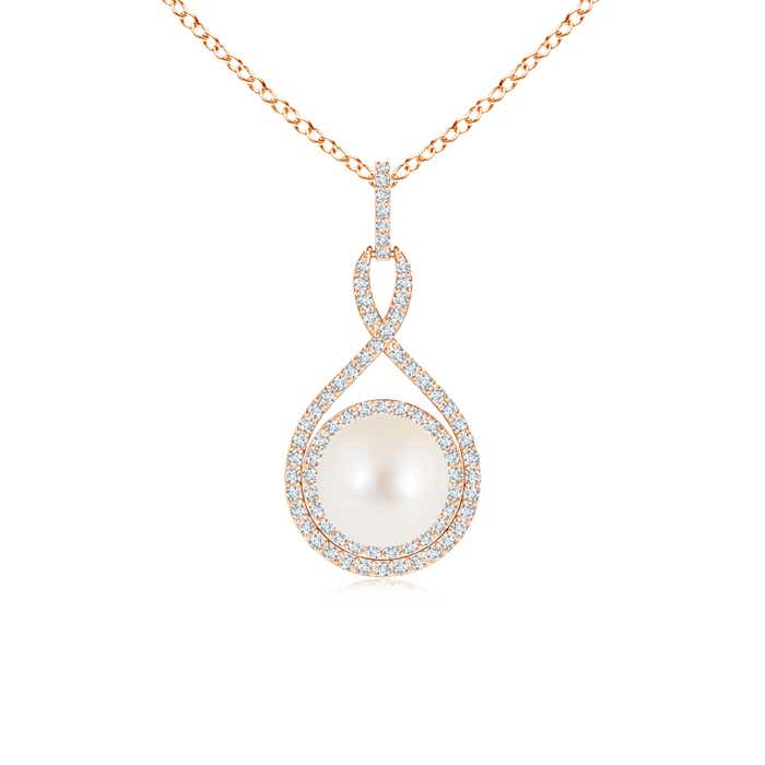 FreshWater Cultured Pearl Infinity Pendant with Diamond Halo - Angara.com