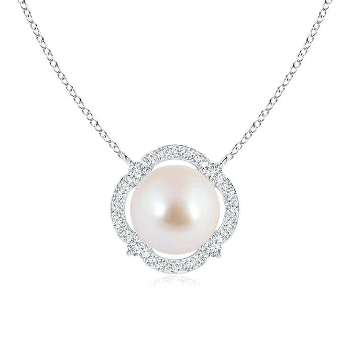 Floating Akoya Cultured Pearl Pendant Necklace with Diamond Halo - Angara.com