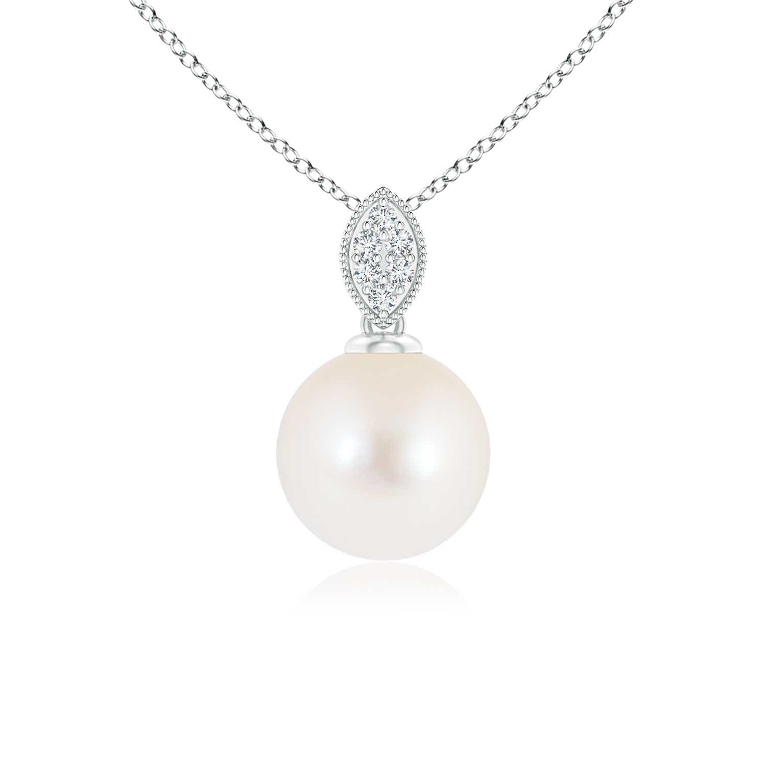 Angara Solitaire Freshwater Cultured Pearl Pendant with Diamonds pwLcm
