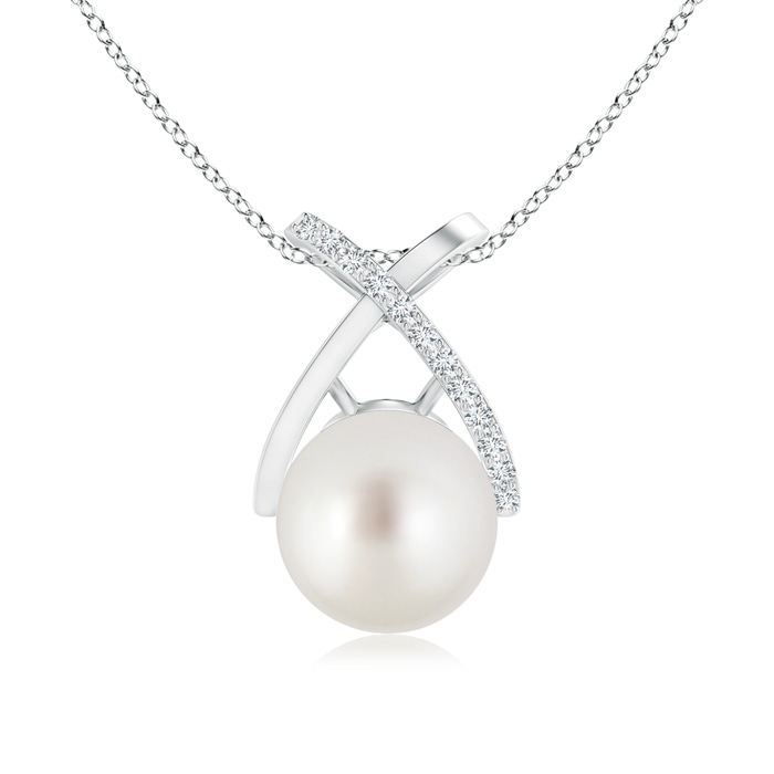 South Sea Cultured Pearl Criss Cross Pendant with Diamond - Angara.com