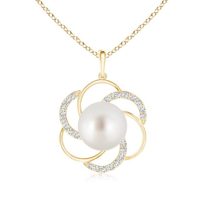 South Sea Cultured Pearl Flower Pendant with Diamond Swirl - Angara.com