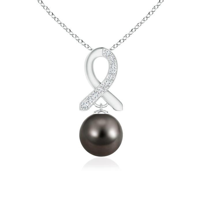 Tahitian Cultured Pearl Drop Pendant with Diamond Ribbon - Angara.com