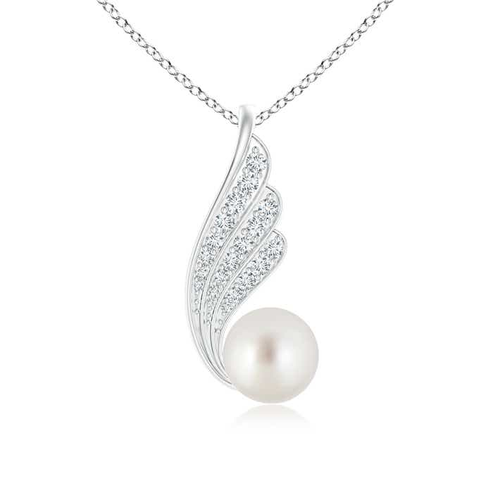 South Sea Cultured Pearl Angel Wings Pendant Necklace with Diamonds - Angara.com