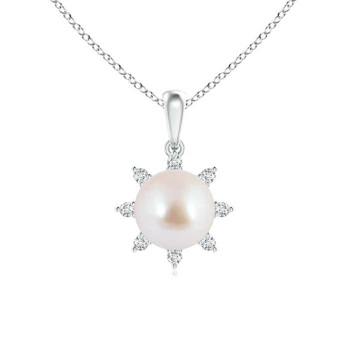 Angara Akoya Cultured Pearl and Diamond Flower Pendant Js6Q7CUpH