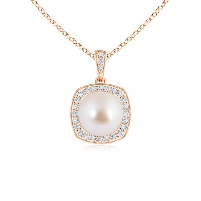 Milgrain-Edged Akoya Cultured Pearl Vintage Pendant with Diamond Halo - Angara.com
