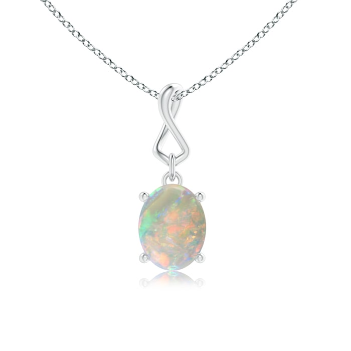 Oval opal dangle pendant with infinity loop bale angara this item oval opal dangle pendant with infinity loop bale 539 aloadofball Choice Image