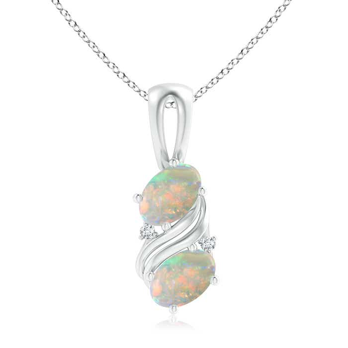 Angara Oval Shaped Opal Swirl Pendant in White Gold