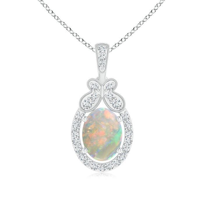 Floating Oval Shaped Opal and Diamond Halo Pendant - Angara.com
