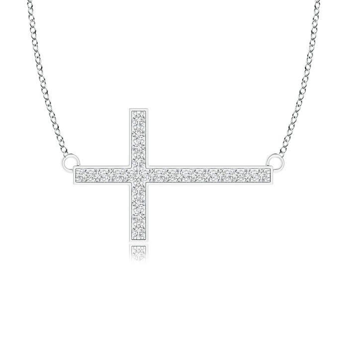 Angara Classic Diamond Sideways Cross Necklace KRKGs0