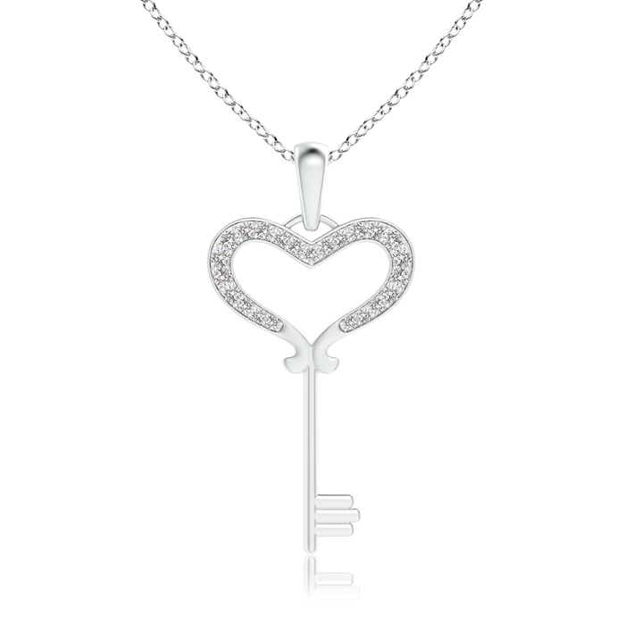 Pave Set Round Diamond Heart Key Pendant - Angara.com