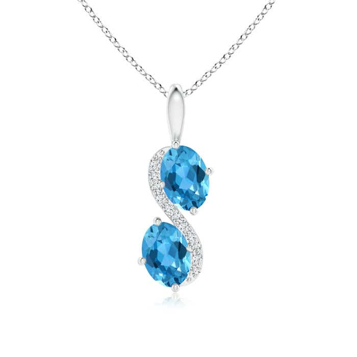 Two Stone Oval Swiss Blue Topaz Bypass Pendant with Diamonds - Angara.com