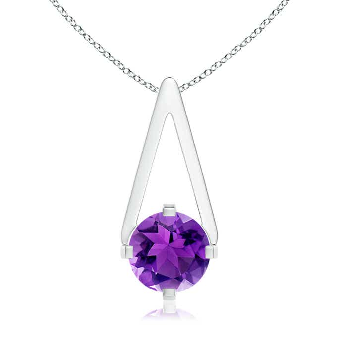 Flat Prong-Set Solitaire Amethyst Triangle Pendant - Angara.com