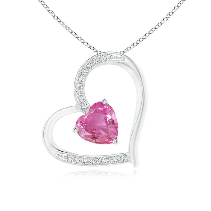 Solitaire Pink Sapphire Tilted Heart Pendant with Pave Diamonds - Angara.com