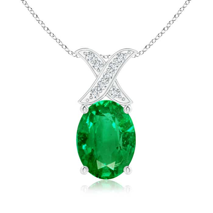 Solitaire Oval Emerald and Diamond XO Pendant - Angara.com