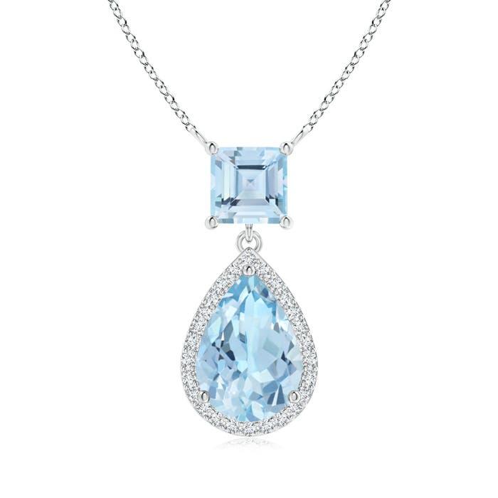 Square and Pear Aquamarine Pendant with Diamond Halo - Angara.com