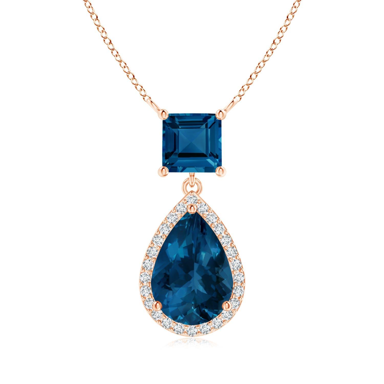 Angara Emerald-Cut London Blue Topaz Solitaire Pendant with Diamond G61dsHJ
