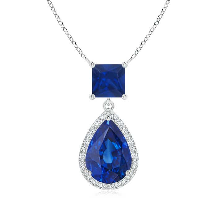 Angara 8x6mm Pear Blue Sapphire Diamond Necklace in 14k Yellow Gold pkPIbPVfT