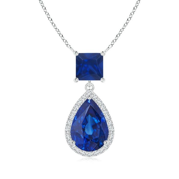 Angara 8x6mm Pear Blue Sapphire Diamond Necklace in 14k Yellow Gold TtxDb3ZXd