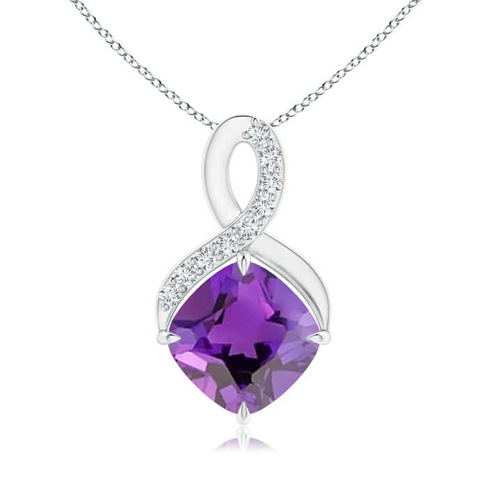 Solitaire Claw Cushion Amethyst Infinity Symbol Pendant with Diamonds - Angara.com