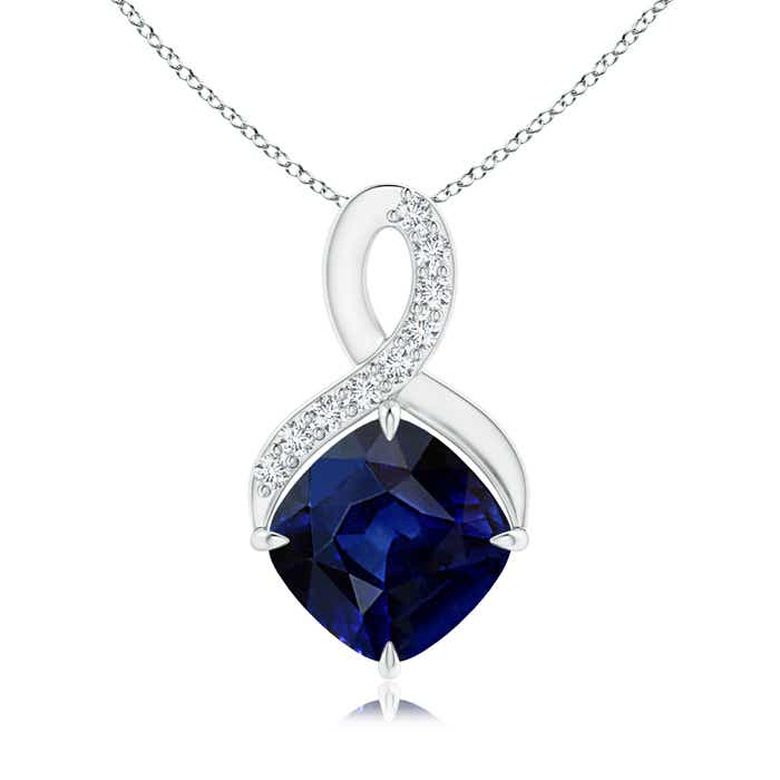 Solitaire Claw Cushion Sapphire Infinity Symbol Pendant with Diamonds - Angara.com
